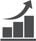 Icon of chart with growth